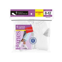 Hanes Women's Low Cut Cushion Socks, 6-Pack (Shoe Size 8-12)