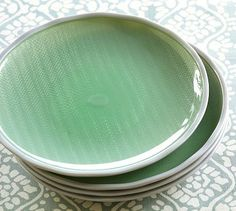 Pottery Barn, Sea Glass Outdoor Salad Plate, set of 4 on sale for $24  -  made of BPA-free melamine to increase safety while using picnic-perfect plastic plates