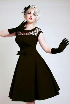 Alika Circle Black, Pin-up Dress - Bettie Page
