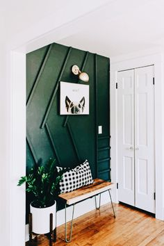 green entryway with art Green Rooms, Decor, Home, Dark Green Walls, Green Entryway, Interior, Green Accent Walls, House Interior, Room Decor