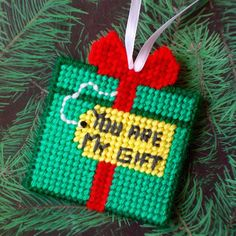 "Plastic Canvas: ""You Are My Gift"" Pocket Ornament (2-sided memory keeper ornament, GREEN) -- ""Ready, Set, Sew!"" by Evie"
