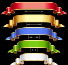 Ribbon set with adjusting length. Vector frame Ribbons set with adjusting length. Vector red, golden, blue, green and white frame isolated on background. Created: GraphicsFilesIncluded: VectorEPS Layered: No Tags: arrow Game Ui Design, Art Design, Graphic Design Art, Design Elements, Ios 11 Wallpaper, Phone Screen Wallpaper, Ribbon Png, Ribbons, Foto Gif