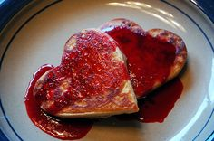 Chocolate Chip Heart Pancakes with Raspberry Sauce