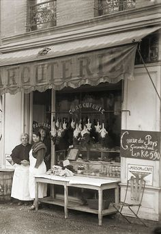 Photo ancien commerce Toulouse Boucherie Charcuterie P.Guitard repro an. 1920