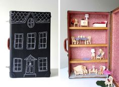 Casa delle bambole creata con il riciclo delle valigie vintage #DIY #suitcase #vintage #dolls #house