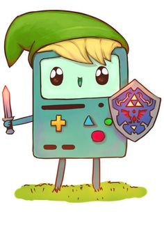 Bmo dressed as Link from Legend of Zelda