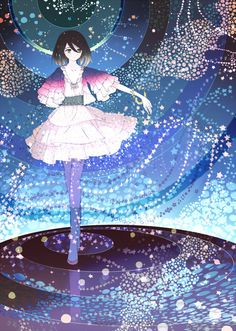 arm_behind_back black_hair blush brown_eyes brown_hair collarbone crossed_legs_(standing) dress felt flats frills galaxy green_eyes hair_between_eyes multicolored_hair original outstretched_arm outstretched_hand pantyhose pink_dress psychedelic reflection shoe_ribbon short_hair smile solo space standing star two-tone_hair