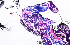 EMILIO PUCCI 2010  #Livepainting #OHGUSHI #Fashion_illustration #portrait_painting #watercolor #japanese_ink #Bijinga #水墨画 #美人画