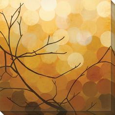 This stunning limited-edition contemporary wrapped canvas art prints brings autumn to your walls. Emblazoned with bare tree branches against golden-hued geometric patterns, this art adds elegant simplicity to any room and matches most decor.