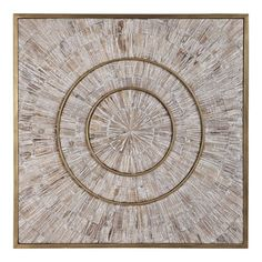 Modern and rustic styles merge in this mixed material design. Aged fir wood strips with natural wood graining have a light gray wash and are arranged in a circular design, with iron accents finished in antique brass. Wood Panel Walls, Metal Walls, Wood And Metal, Wood Paneling, Brass Metal, Interior Design Gallery, Interior Design Website, Metal Wall Decor, Wood Wall