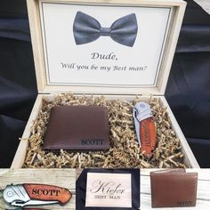 What a fabulous gift for a best man or groomsman. This groomsman gift box is great and is awesome to use in the future to store watches, keys, wallet, or other special keepsakes. Groomsmen Gift Box, Groomsmen Proposal, Bridesmaids And Groomsmen, Bridesmaid Proposal, Groomsman Gifts, Bridesmaid Gifts, Ask Groomsmen, Groomsmen Gifts Unique, Groomsmen Invitation