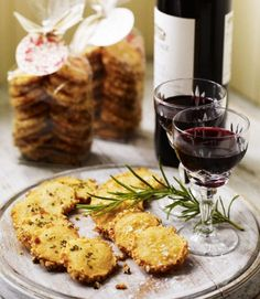 Cheese-and-Rosemary-Sables-These buttery, crumbly, melt-in-the-mouth biscuits make great cheesy vegetarian canapés to serve with drinks. They also make a brilliant Christmas gift. Christmas Nibbles, Christmas Canapes, Christmas Recipes, Homemade Christmas, Christmas Ideas, Christmas Gifts, Christmas Hamper, Christmas Foods, Christmas Stuff