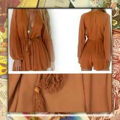 New Arrival! Gorgeous Rustic Orange Boho shorts romper. Tied and tassel waist. May require something underneath. Made of chiffon material. Nip  Bundles welcome great discounts  No rude comments or you will be blocked  Reasonable offers only Retail Chic  Other