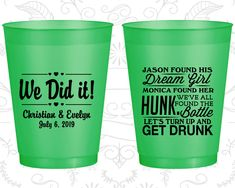 Frosted Wedding Cups, Shatterproof Cups, Frost Flex Cups, Custom Frosted Cups, Frosted Plastic Cups, Personalized Frosted Cups (516)