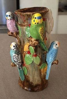 vase by Anita Reay Ceramic Animals, Ceramic Birds, Ceramic Art, Pottery Vase, Ceramic Pottery, Slab Pottery, Thrown Pottery, Kitsch, Clay Birds