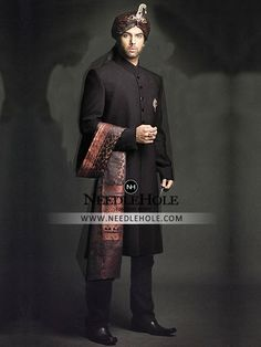 Pakistani sherwani suit for men in smoky black color. Marvelous custom bespoke designer sherwani outfit gives you a attractive & handsome look at the party Pakistani Kurta, Indian Salwar Suit, Pakistani Wedding Dresses, Mens Sherwani, Wedding Sherwani, Mens Shalwar Kameez, Achkan, Designer Wedding Gowns, Wedding Men