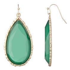 Emerald: Faux-stone teardrop earrings offer big impact at little cost.