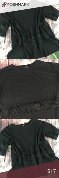 """Forever 21 Black Top This top has a see through netting at waist and on arms. Perfect paired with white shorts. In great condition.  📐Measurements & Information 📐  Chest Approx 474"""" Length Approx 21"""" 50% rayon, 45% Polyester Forever 21 Tops"""