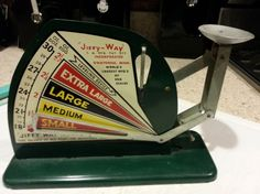 "Being a city boy, I find this especially cool. It's a ""Jiffy-Way""  Green Vintage Egg Scale Patent no. 2205917 Owatonna, Minn. circa 1940. Best of all, it still works perfectly! :)"