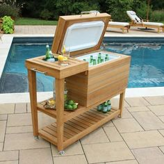 DIY Outdoor Furniture 40 Easy Projects You Can Do Right Now - Patio Furniture - Ideas of Patio Furniture - 40 Easy and Fun DIY Outdoor Furniture Projects how to build a patio cooler stand. Great idea for a project! Outdoor Buffet Tables, Outdoor Bar Cart, Diy Outdoor Bar, Diy Outdoor Furniture, Diy Furniture, Diy Patio, Furniture Projects, Wood Patio, Furniture Removal