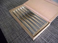 B&B Italy Mid-Century Modern 6 Piece Knife Set in Case Excellent Condition