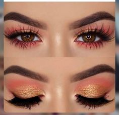 Valentine's Day Eye Looks - Yellow and orange and pink eotd eye makeup eyeshadow Effektive Bilder, die wir über make up prom - Gold Eye Makeup, Eye Makeup Tips, Makeup Goals, Makeup Inspo, Eyeshadow Makeup, Makeup Inspiration, Makeup Ideas, Peach Makeup Look, Coral Makeup