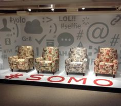 Southern Motion chairs with fun social media and emoticon inspired patterns.  #HPMKT #SOMO