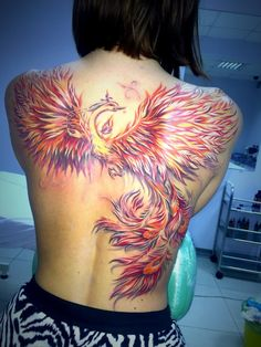 Tattoo Oleg Krasnov - tattoo's photo In the style Graphics, Female, Phoen Side Piece Tattoos, Back Tattoos, Music Tattoos, Body Art Tattoos, Girl Tattoos, Sleeve Tattoos, Tatoos, Phoenix Back Tattoo, Phoenix Tattoo Design