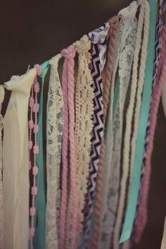 Vintage Wedding Alice in Wonderland, Frozen, Mermaid, Chevron Print Lace… Lace Garland, Bunting Garland, Buntings, Garlands, Diy Vintage, Happy Party, Fabric Strips, Birthday Decorations, Baby Shower