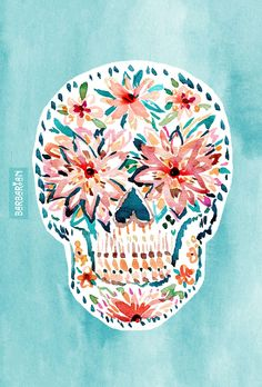 "With dahlia eyes and a colorful ""smile"" this skull keeps it poppin. #boho #halloween"