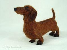 Queenie the dachshund, needle felted figurine by Olga Timofeevski