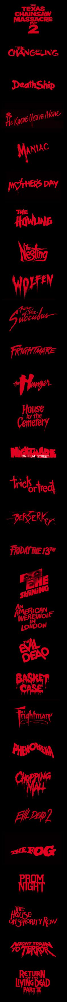 1980's Horror Logos