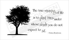"""The True MEANING of Life  Is to PLANT TREES Under  Whose SHADE You do not  Expect to SIT.""  Nelson Henderson"
