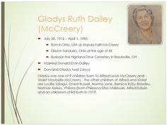 Dailey Family Tree - page 38 Gladys Ruth McCreery (Mrs. Donald Ervin Dailey) 1916 - 1985