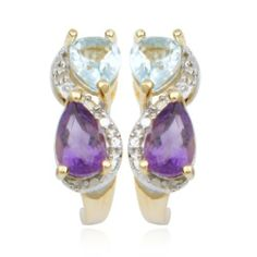 18k Gold Plated Sterling Silver Amethyst, Sky Blue Topaz and Diamond Accent J-Hoop Earrings Amazon Curated Collection. $29.00. Gemstones may have been treated to improve their appearance or durability and may require special care. Made in China. Multi-gemstone. Save 64% Off!