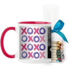 Xoxo Mug, Red, with Ghirardelli Assorted Squares, 11 oz, White