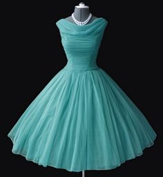 Turquoise chiffon 50s dress - I had a very similar one in velvet that I wore when I met Elvis Presley in 1954.