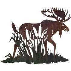 "24"" Lazart Metal Wall Art Wall Decor - Moose with Cattails by Laser Wall Art…"