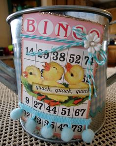 Spring time watering can using Bingo Craft Cards, Twirly Twine and Retro Easter kit