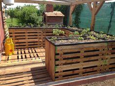 Elevated Garden Planters #PalletPlanter, #PalletRaisedBeds