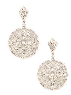 Diamond Kite & Filigree Medallion Drop Earrings