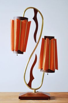 Mid Century Majestic teak & brass table lamp dual orange fiberglass metal shade