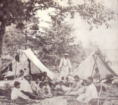 Indian Encampment on Grindstone Island, ca 1875