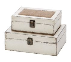 2 Piece Alluring Wooden Box with Burlap Infused Lids Set