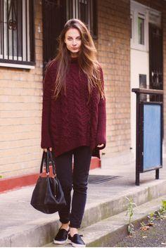 burgundy knit