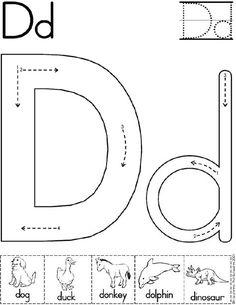 Alphabet Letter D Worksheet Preschool Letters, Learning Letters, Preschool Kindergarten, Preschool Printables, Preschool Worksheets, Preschool Learning, Preschool Activities, Teaching, Letter D Worksheet