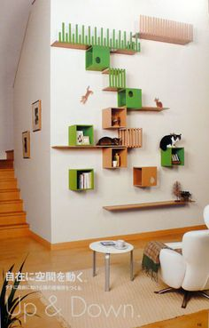 Cat Tree House for Your Lovely Cats: Cheap Cat Tree House With Wall Shelves Ideas Design – Hoodv Mimi Chat, Diy Pour Chien, Cat Tree House, Himalayan Cat, Cat Shelves, Book Shelves, Cat Playground, Cat Climbing, Cat Room