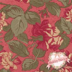 """Paris Flea Market 3725-15 Rouge by 3 Sisters for Moda Fabrics: Paris Flea Market is a beautiful shabby style collection from 3 Sisters for Moda Fabrics.  100% cotton, 43""""/44"""" wide.  This fabric features lush roses on a rouge background."""