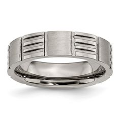 Chisel Titanium Notched 6mm Satin and Polished Band
