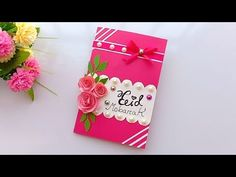 Special Birthday Cards, Beautiful Birthday Cards, Handmade Birthday Cards, Greeting Cards Handmade, Paper Rose Craft, Rose Crafts, Paper Crafts Origami, Diy Eid Cards, Hanging Paper Decorations